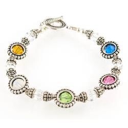 Birthstone Round Frame Bracelet
