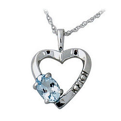 Aquarmarine and Diamond Heart Pendant in 10 kt White Gold