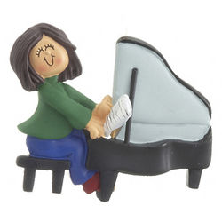 Female Piano Player Christmas Ornament