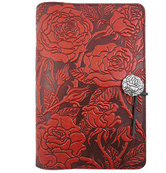 Wild Red Rose Embossed Leather Journal