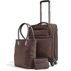 Chocolate Quilted 3-Piece Carry-On Set