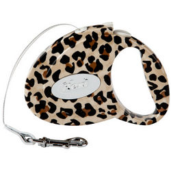 Retractable Leopard Print Leash