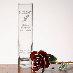 Engraved Glass Bud Vase with 24k Gold Rose