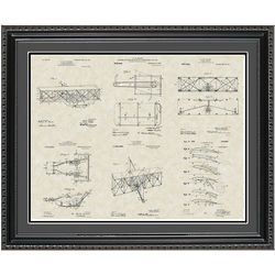 Wright Brothers Aircraft 20x24 Framed Patent Art