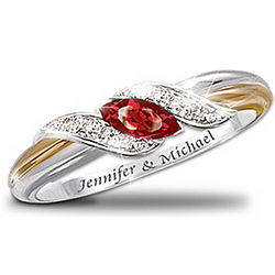 Personalized Ruby and Diamond Embrace Ring