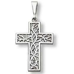 14K White Gold Crown of Thorns Cross Pendant