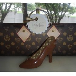 Designer Inspired LV Purse Bag with Chocolate High Hee