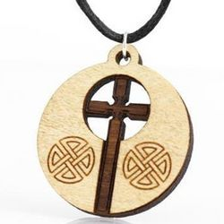 Round Wood Celtic Cross Necklace