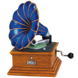 Vibrant Miniature Gramophone Hand-Cranked Musical Figurine