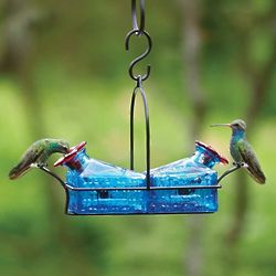 Basketweave 2-Perch Hummingbird Feeder in Blue