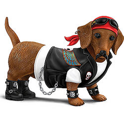 Cruiser Dachshund in Biker Gear Figurine