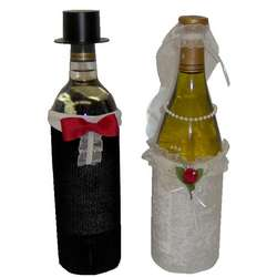 Bride and Groom Bottle Covers
