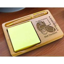 Personalized Football Wooden Notepad & Pen Holder