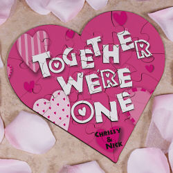 Together We're One Personalized Heart Shaped Wood Jigsaw Puzzle