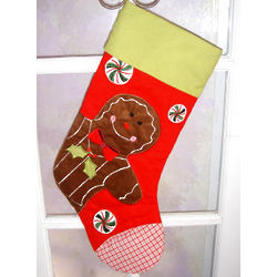 Gingerbread Man Personalized Quilted Christmas Stocking