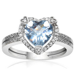 Sterling Silver Aquamarine and Diamond Heart Ring