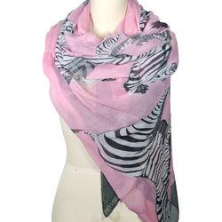 Large Pink Zebra Pattern Scarf