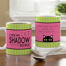 Cat Lover Personalized Message Coffee Mug