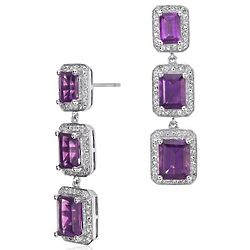 Amethyst Emerald Cut Halo Drop Earrings