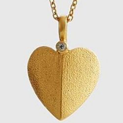 White Topaz Gold Heart Pendant Necklace