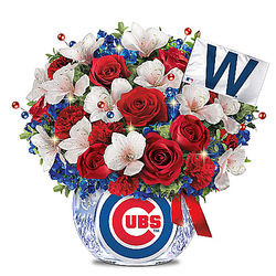 Chicago Cubs Team-Color Bouquet and Lighted Crystal Vase