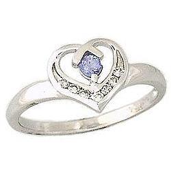 Tanzanite and Diamond Heart Ring