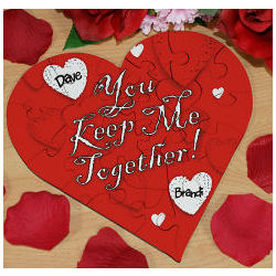 Keep Me Together Heart Shaped Wood Jigsaw Puzzle