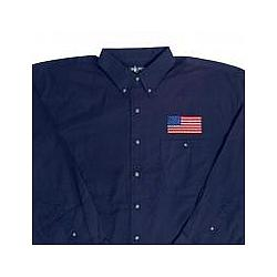 American Flag Embroidered Long Sleeve Twill Shirt