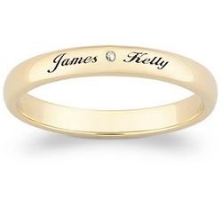 18k Gold Over Sterling Diamond & Top-Engraved Name Promise Band