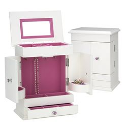 White Jewelry Box Armoire