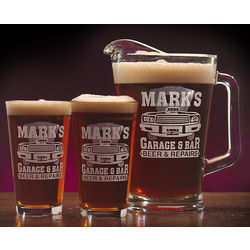 Personalized Garage Bar Theme Two Pint and Pitcher Set