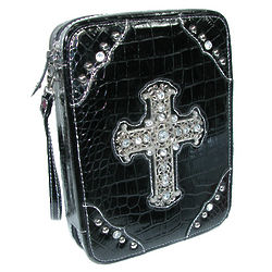 Faux Crocodile Bible Cover With Rhinestone Accents