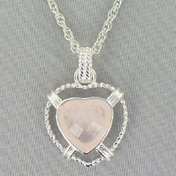 Heart Cut Rose Quartz Pendant Necklace