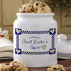 Personalized Happiness is Cookies Ceramic Cookie Jar