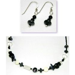 Black Bead Necklace and Earrings Set