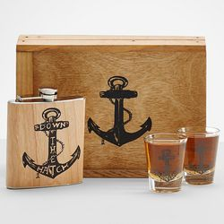 Down the Hatch Flask and Shot Glass Set