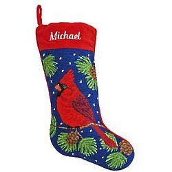 Personalized Cardinal Needlepoint Stocking