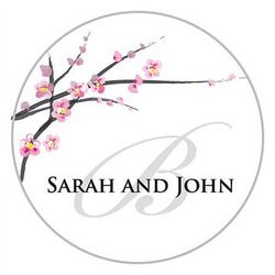 Cherry Blossom Personalized Wedding Favor Stickers