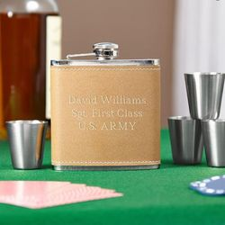 Cocoa Leather Engravable Hip Flask Set