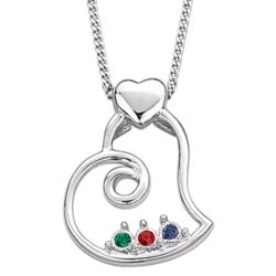 Sterling Silver Sister's Swirl Heart Birthstone Necklace