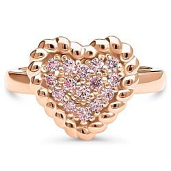 Rose Gold Flashed Heart Cable Stud Ring with Swarovski
