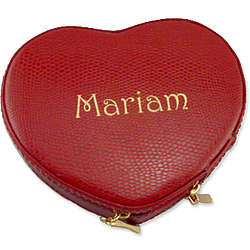Petite Red Leather Heart Jewelry Case