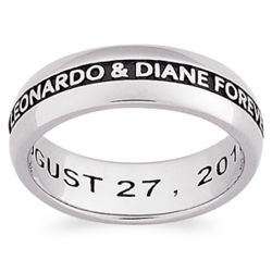 Sculpted Sterling Engraved Message Wedding Band