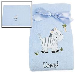 Personalized Blue Zebra Blanket