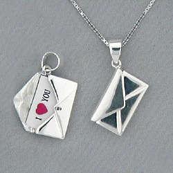 Love Letter Sterling Silver Envelope Necklace