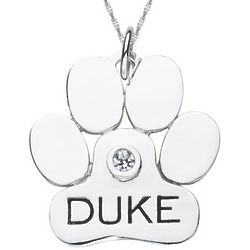 Personalized Sterling Silver Dog Paw Pendant