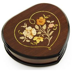 Wooden Heart Shaped Music Jewelry Box with Floral Inlay
