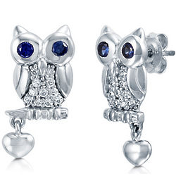 Cubic Zirconia Sterling Silver Owl with Heart Dangle Earrings