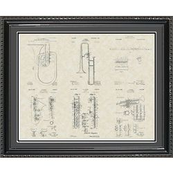 Band Instruments Framed Patent Art