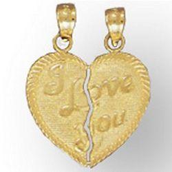 I Love You 14K Gold Friendship Heart Pendant